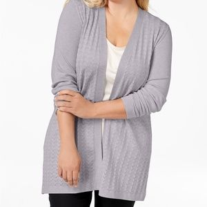 NWT Karen Scott Plus Size Long Knit Cardigan